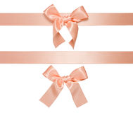 Multiple cream-rose horizontal ribbon with bow Royalty Free Stock Photos