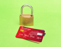 Multiple Credit Cards with Lock concept Image Stock Photography
