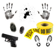 Multiple Crime Elements on White. Crime Scene Items: Blood Spatter, Fingerprint, Handprint, Police Tape and 9mm Gun Stock Photos