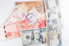 Multiple Currencies banknotes as colorful background Stock Photo