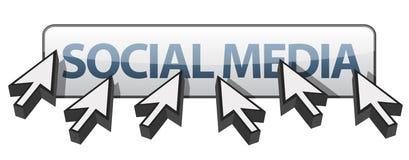 Multiple cursors around social media Royalty Free Stock Photo
