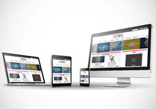 Multiple devices with business news internet web site Royalty Free Stock Image