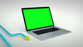 Multiple devices green screen. 3d animation of various devices connected cross platform to the same network vector illustration