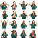 Multiple different expressions royalty free stock photos