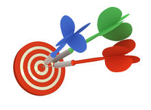 Multiple Direct Hits. 3 darts hits exactly on bulls eye 3D rendered (isolated on White Background Royalty Free Stock Image