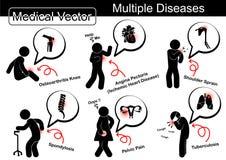 Multiple diseases vector illustration