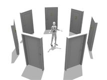 Multiple Doors. Crash test dummy with many doors over a white background Royalty Free Stock Photo