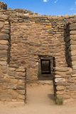 Multiple doorways leading through the Aztec Pueblo, New Mexico stock photo