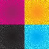 Multiple dot Circles arranged in a wire circle bigger is 4 color tone pink yellow blue black Stock Photography