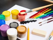 Multiple drawing paints and brushes Royalty Free Stock Photos