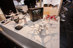 Multiple drones displayed at CeBIT. HANNOVER, GERMANY - MARCH 14, 2016: Multiple drones displayed at CeBIT information technology trade show in Hannover, Germany stock images