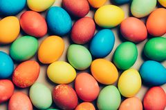 Multiple dyed eggs laying on the floor. Traditional holiday. Easter Royalty Free Stock Photo
