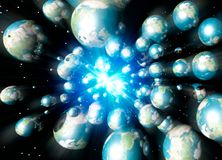 Multiple Earths speeding in space Royalty Free Stock Images