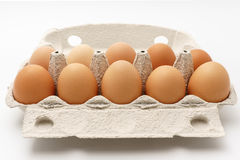 Multiple eggs in a cardboard box. On a white background Stock Images