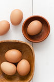 Multiple eggs in different bowls Stock Image