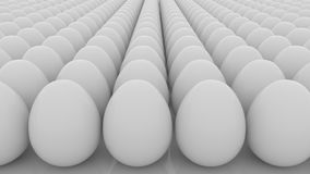 Multiple eggs seamless loop motion background. Life, beginning, equality, sameness or multiplicity concepts. 3D Stock Photography
