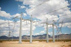 Multiple electric power lines in desert. Photograph of electric power lines in desert in Southern Nevada Stock Photo
