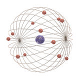 Multiple electron paths around the nucleus Stock Photo