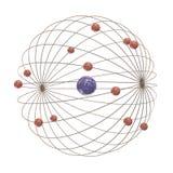 Multiple electron paths around the nucleus. On white background Stock Photo