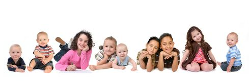 Multiple Ethnicities of Children of all Ages. On White Background Stock Photos