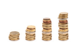 Multiple euro coins isolated royalty free stock image