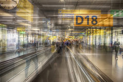 Multiple exposition of airport terminal Stock Images