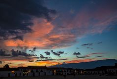 Beautiful sunset over the main square stock photography