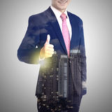 Multiple exposure business man show thumb up Royalty Free Stock Images