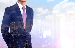 Multiple Exposure business man wearing black suit Royalty Free Stock Image