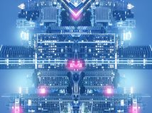 Multiple exposure city abstract background art blue tone scifi royalty free stock photography