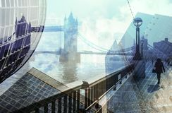 Multiple exposure of city commuters and skyscrapers in London. Multiple exposure of city commuters walking and city skyscrapers in London, UK. London Bridge Royalty Free Stock Photography
