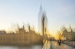 Multiple exposure image of beautiful morning on the Westminster bridge with blur of walking people. View include Big Ben and House Royalty Free Stock Photography