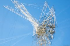 Multiple exposure image of building construction site in the centre of London. Cranes and concrete contraction against of blue sky. London, UK - November 30 Stock Images