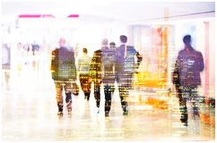 Multiple exposure image of walking people in London. Business concept illustration. Walking business people. Multiple exposure image. Business concept Stock Images
