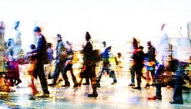 Multiple exposure image of walking people in London. Business concept illustration. Walking business people. Multiple exposure image. Business concept Stock Photos