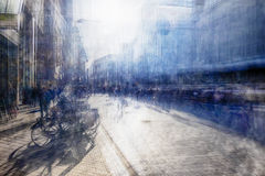 Multiple exposure of shopping street Stock Image