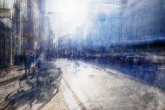 Multiple exposure of shopping street Stock Image