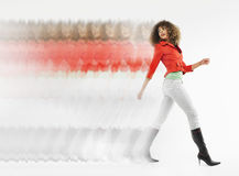 Multiple Exposure Shot Of Afro Woman Walking Royalty Free Stock Photos