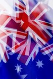 Multiple exposure of some australian flags stock images
