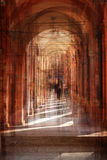 Multiple exposure of  street arcade, Italy. Multiple exposure of Bologna street arcade, Italy Royalty Free Stock Photos