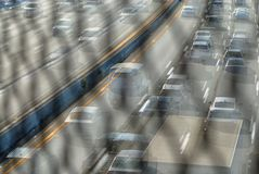 The blurr of the freeway traffic whizzing past on the highway. royalty free stock photo