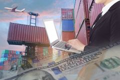 Multiple exposures of business shipping, logistics, industry background overal. L. New truck fleet with container depot as for shipping and logistics stock photo