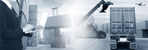Multiple exposures of business shipping, logistics, industry background overal. L. New truck fleet with container depot as for shipping and logistics stock images
