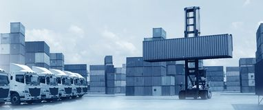 Multiple exposures of business shipping, logistics, industry background overal. L. New truck fleet with container depot as for shipping and logistics royalty free stock images