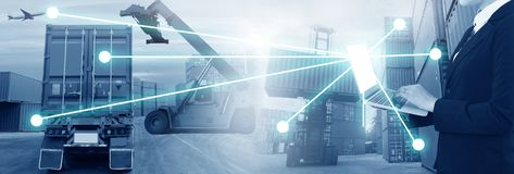 Multiple exposures of business shipping, logistics, industry background overal. L. New truck fleet with container depot as for shipping and logistics stock photos