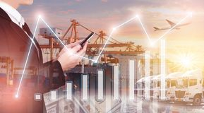 Multiple exposures of business shipping, logistics, industry background overall. New truck fleet with container depot as for shipping and logistics royalty free stock photo