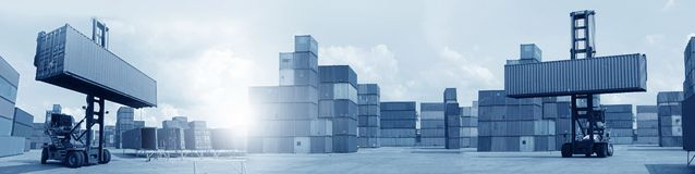 Multiple exposures of business shipping, logistics, industry background overal. L. New truck fleet with container depot as for shipping and logistics royalty free stock photos