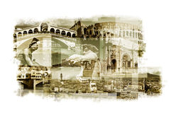 Multiple exposures of different italian landmarks Stock Photography
