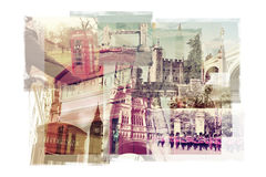 Multiple exposures of different landmarks in London, United King Royalty Free Stock Photo