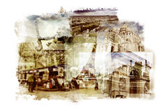 Multiple exposures of different landmarks in Paris, France. Such as the Eiffel Tower, the Basilica of the Sacred Heart, some bridges above the Seine River or Stock Images